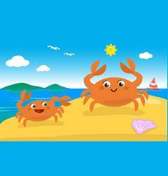 Cute crab family on the beach vector