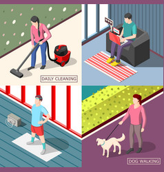 daily routine 2x2 isometric design concept vector image