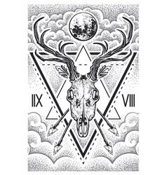 Deer skull sacred geometry vector