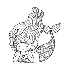 Dreamy lying mermaid with long curly hair vector