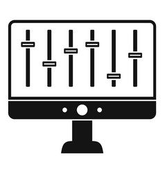 equalizer monitor icon simple style vector image
