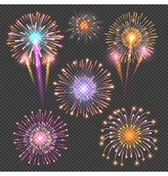 Festive firework set on checkered dark vector image