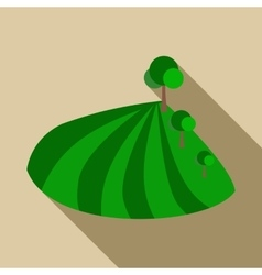 Field with trees icon flat style vector