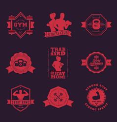 fitness gym vintage logos emblems vector image