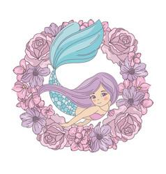 Flower mermaid floral wreath vector