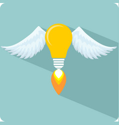 Glowing light bulb with angel wings and a flame vector