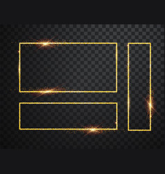gold shiny glowing frames set with shadows vector image