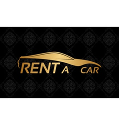 Golden car logo on floral texture vector