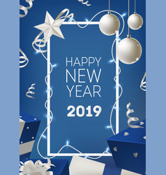 happy new year 2019 greeting card template with vector image