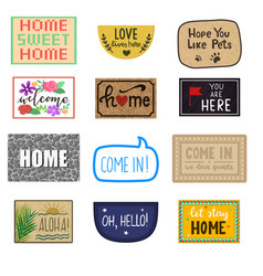 Home mat welcome doormat of front house vector