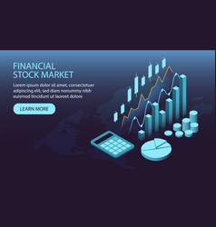 Isometric financial stock market concept vector