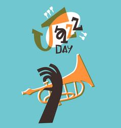 Jazz day retro trumpet music band cartoon card vector