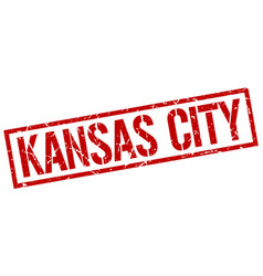 Kansas city red square stamp vector