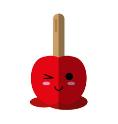 kawaii candy apple icon image kawaii candy icon vector image vector image