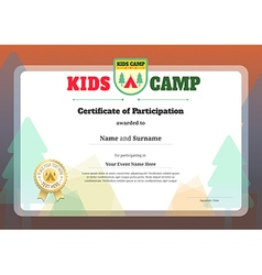 Kid certificate of participation template for camp vector image