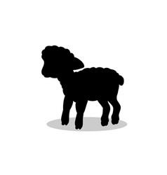 Lamb sheep farm mammal black silhouette animal vector