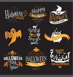 Large logo set of happy halloween eerie designs vector