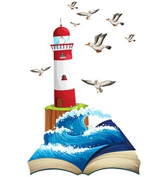 Lighthouse and seagulls at sea vector