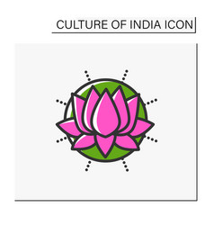 Lotus flower color icon vector