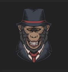 Mafia monkey vector