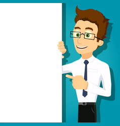 man showing on white banner vector image
