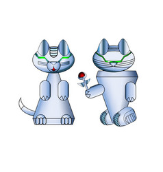 Modern realistic cat robots arrangement vector