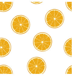 Orange fruits seamless pattern on white background vector