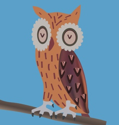 Owl sitting on a branch vector