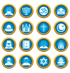 religious symbol icons blue circle set vector image