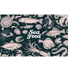 seafood hand drawn underwater world vector image