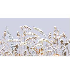 seamless border with meadow plants under snow vector image