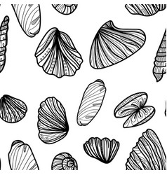 Seamless monochrome pattern with sea shells vector