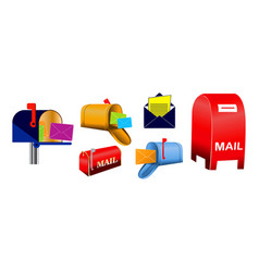 set classic mailbox and envelope vector image