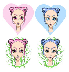 Set girl with pink and blue hair vector