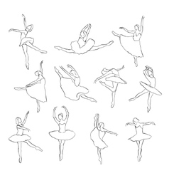 Set of ballet dancers silhouettes vector