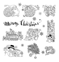 Set of doodles christmas decorations and design vector