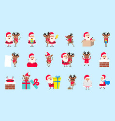 set santa clauses and deers christmas cartoon vector image