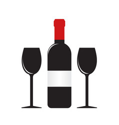 silhouette of wine bottle with label and two vector image