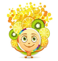 Slices of fruits with a smiley face vector image