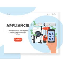 Smart household appliances website landing vector