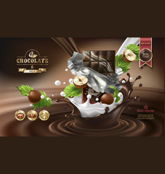Splashes of melted chocolate and chocolate bar vector