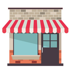 Store facade with sunshade in colorful silhouette vector