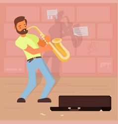 street musician playing sax vector image