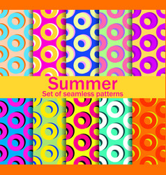 Summer seamless patterns with circles and bright vector