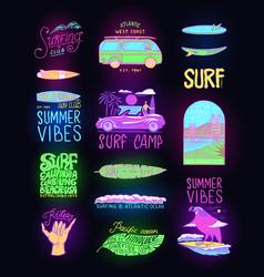 summer surf signs fashion neon surfer banner vector image