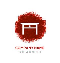 table icon - red watercolor circle splash vector image