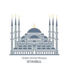 The blue mosque istanbul turkey flat icon vector