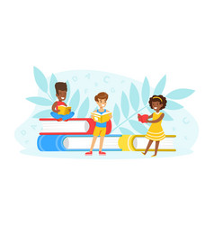 tiny kids reading books little students learning vector image
