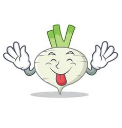 Tongue out turnip mascot cartoon style vector