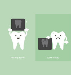 Tooth and tooth decay holding dental x-ray film vector
